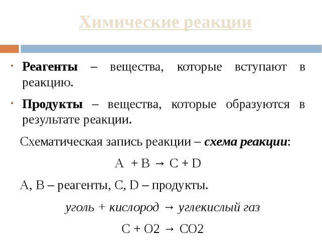 Химические реакции Реагенты – вещества, которые вступают в реакцию. Продукты...