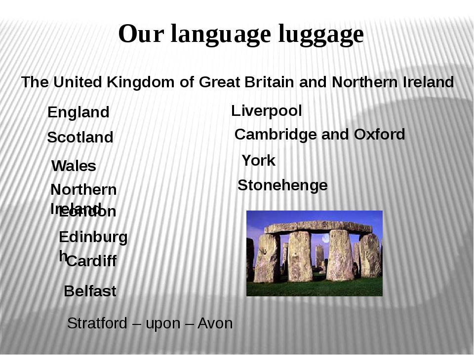 Our language luggage The United Kingdom of Great Britain and Northern Ireland...