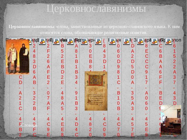 Церковнославянизмы Церковнославянизмы -слова, заимствованные из церковно-слав...