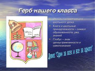 Герб нашего класса Звонок – символ начала школьного урока. Книга и школьные п