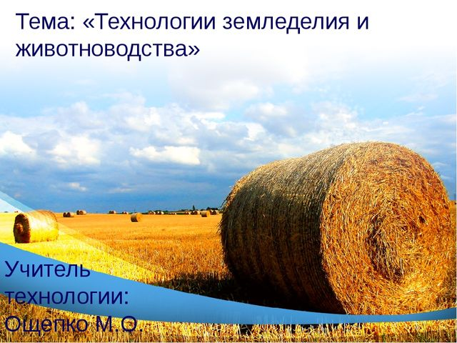Тема: «Технологии земледелия и животноводства» Учитель технологии: Ощепко М.О.