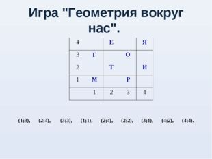 "Игра ""Геометрия вокруг нас"". 4ЕЯ 3ГО 2ТИ 1МР"