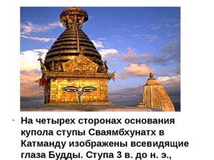 На четырех сторонах основания купола ступы Сваямбхунатх в Катманду изображен