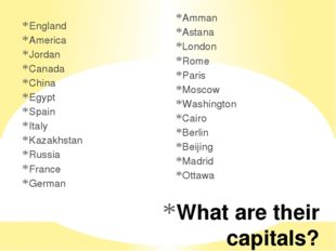 What are their capitals? England America Jordan Canada China Egypt Spain Ital