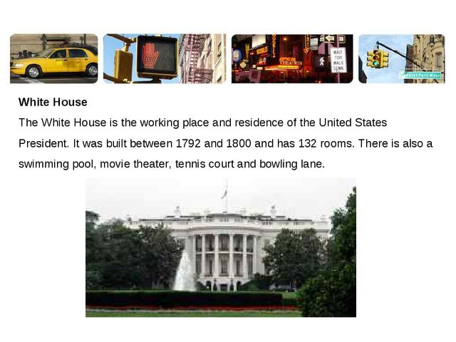 White House The White House is the working place and residence of the United...