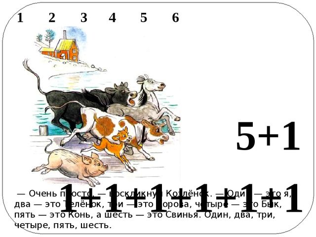 1 2 3 4 5 6  — Очень просто,— воскликнул Козлёнок.— Один — это я, дв...