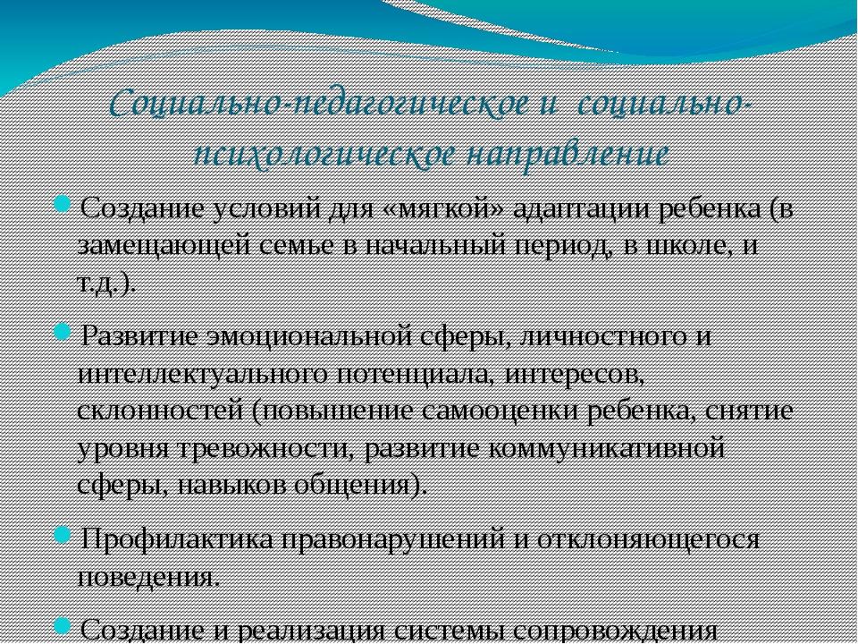 Социально-педагогическое и социально-психологическое направление Создание усл...
