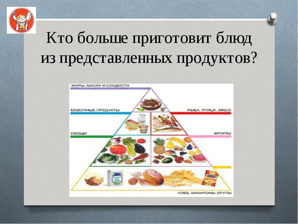 Кто больше приготовит блюд из представленных продуктов?