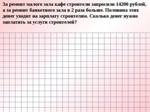 За ремонт малого зала кафе строители запросили 14200 рублей, а за ремонт банк