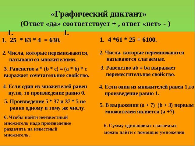 «Графический диктант» (Ответ «да» соответствует + , ответ «нет» - ) 1. 1...