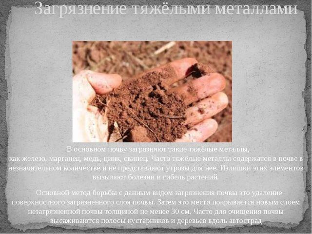 В основном почву загрязняют такие тяжёлые металлы, какжелезо,марганец,мед...