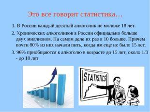 Это все говорит статистика… 1. В России каждый десятый алкоголик не моложе 18