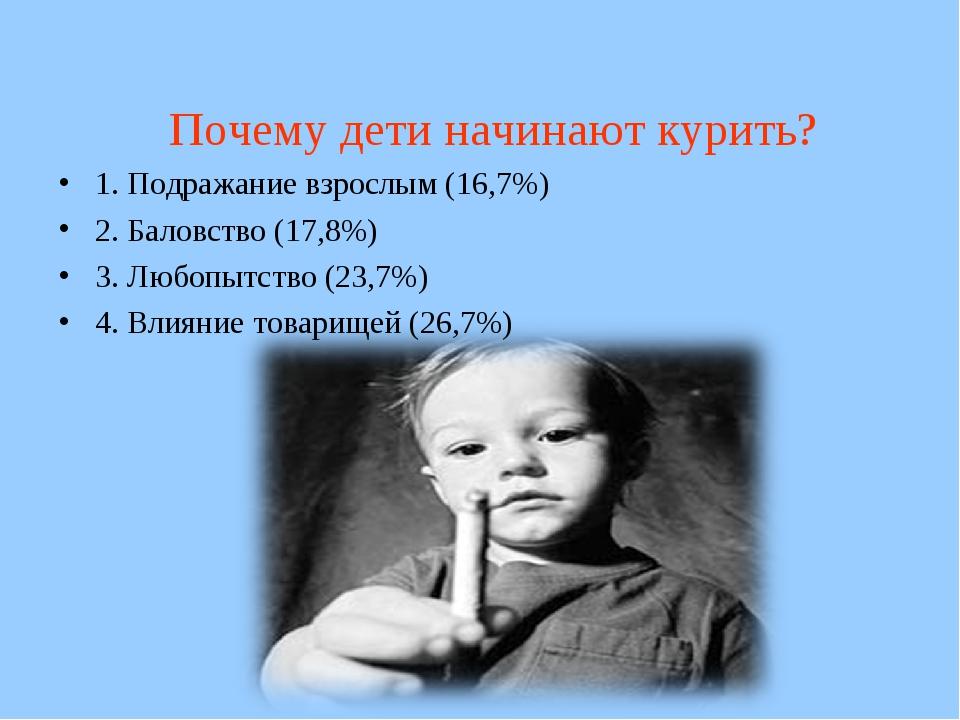 Почему дети начинают курить? 1. Подражание взрослым (16,7%) 2. Баловство (17...