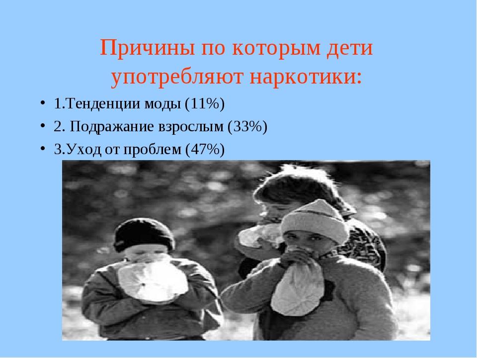 Причины по которым дети употребляют наркотики: 1.Тенденции моды (11%) 2. Подр...