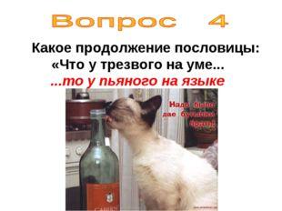 Какое продолжение пословицы: «Что у трезвого на уме... ...то у пьяного на яз