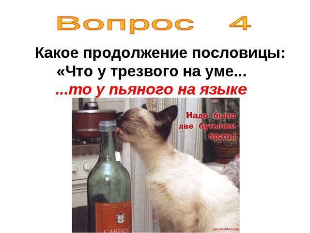 Какое продолжение пословицы: «Что у трезвого на уме... ...то у пьяного на яз...