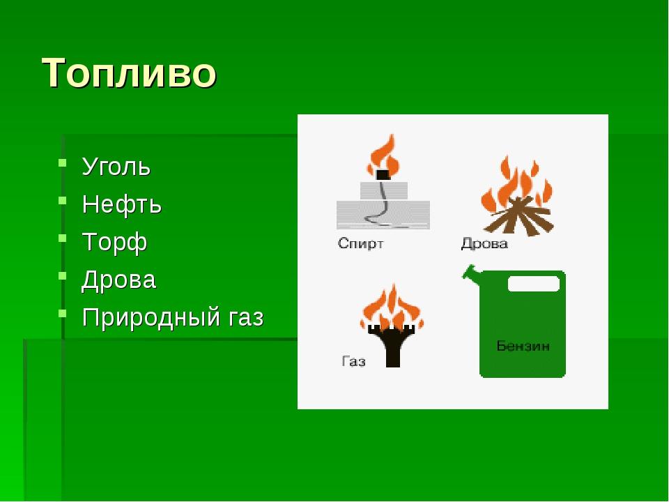 Топливо Уголь Нефть Торф Дрова Природный газ