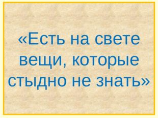 «Есть на свете вещи, которые стыдно не знать»