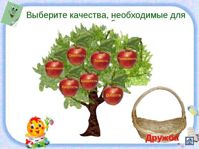 Презентация Рыбалко Анны Васильевны Выберите качества, необходимые для дружбы...