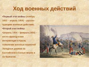 Ход военных действий Первый этап войны (ноябрь 1853 – апрель 1854) – русско-т