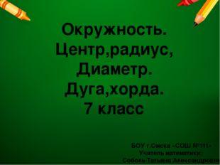 БОУ г.Омска «СОШ №111» Учитель математики: Соболь Татьяна Александровна Окруж