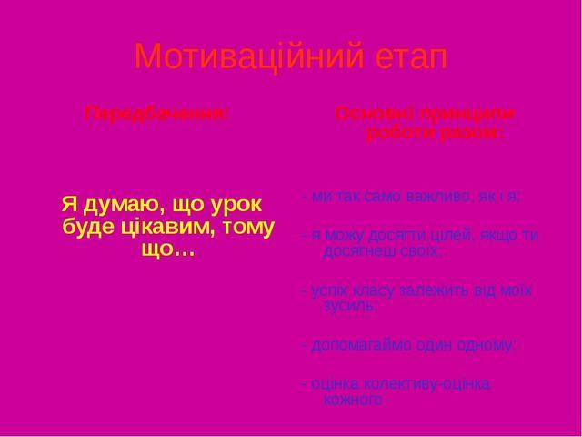 Мотиваційний етап Передбачення: Я думаю, що урок буде цікавим, тому що… Основ...