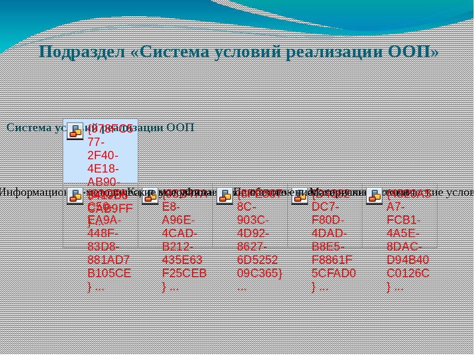 Подраздел «Система условий реализации ООП»
