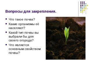 Вопросы для закрепления. Что такое почва? Какие организмы её населяют? Какой