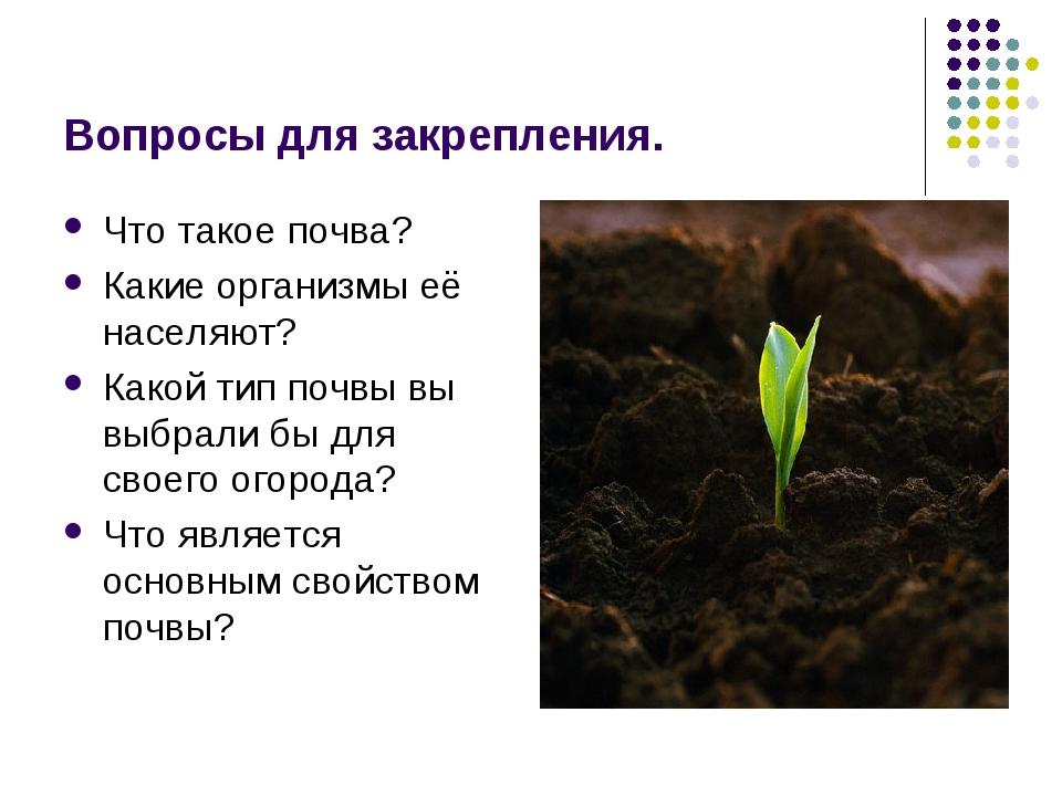 Вопросы для закрепления. Что такое почва? Какие организмы её населяют? Какой...