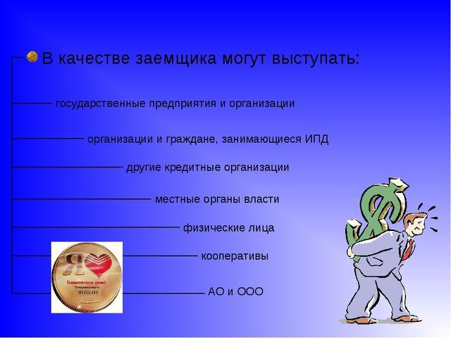 В качестве заемщика могут выступать: государственные предприятия и организац...