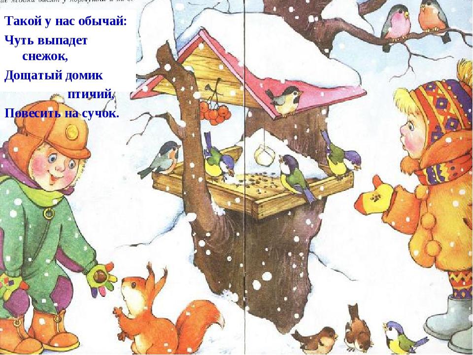 Такой у нас обычай: Чуть выпадет снежок, Дощатый домик птичий, Повесить на су...