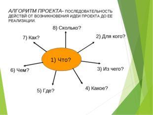 1) Что? 8) Сколько? 2) Для кого? 3) Из чего? 4) Какое? 5) Где? 6) Чем? 7) Ка