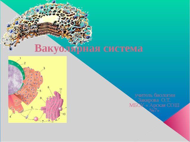 Вакуолярная система учитель биологии Закирова О.Т. МБОУ « Арская СОШ №7»