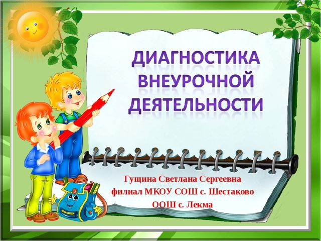 Гущина Светлана Сергеевна филиал МКОУ СОШ с. Шестаково ООШ с. Лекма