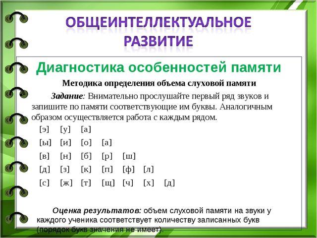 Диагностика особенностей памяти Методика определения объема слуховой памяти...