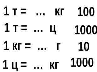 1 т = … кг 1 ц = … кг 1 т = … ц 1 кг = … г 1000 100 10 1000