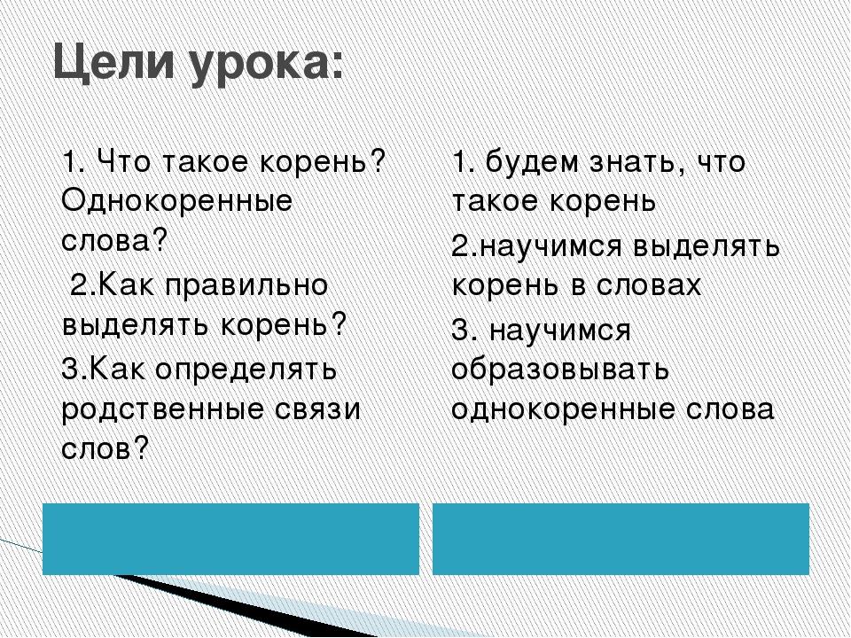 Цели урока: 1. Что такое корень? Однокоренные слова? 2.Как правильно выделять...