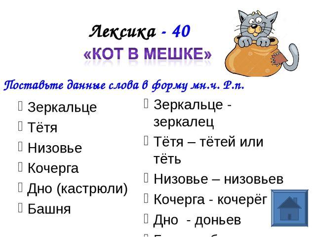 Лексика - 40 Зеркальце Тётя Низовье Кочерга Дно (кастрюли) Башня Поставьте да...