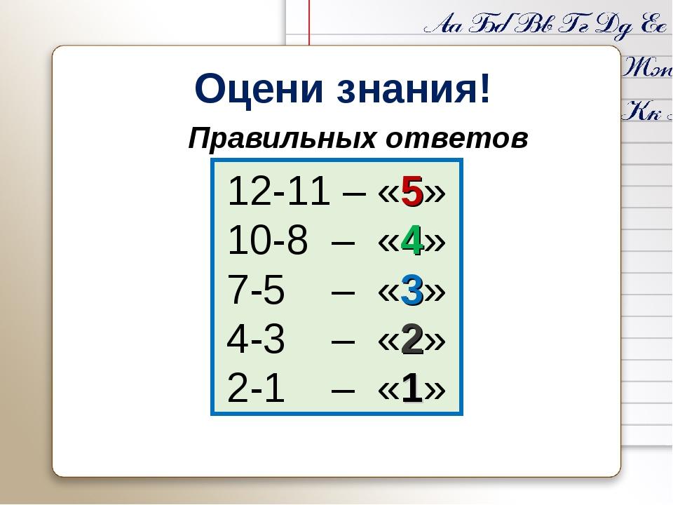 Оцени знания! 12-11 – «5» 10-8 – «4» 7-5 – «3» 4-3 – «2» 2-1 – «1» Правильны...