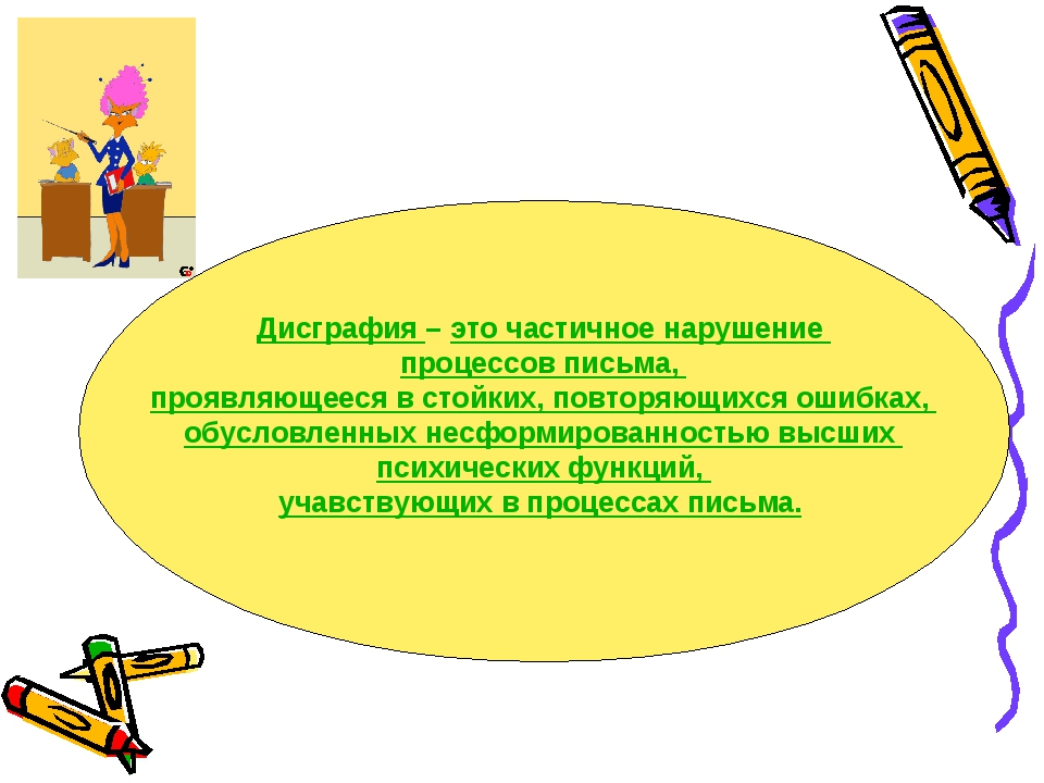Дисграфия – это частичное нарушение процессов письма, проявляющееся в стойких...