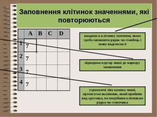 7 7 7 7 + Заповнення клітинок значеннями, які повторюються вводимо в клітинку