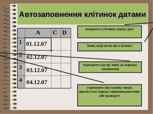 01.12.07 02.12.07 + Автозаповнення клітинок датами вводимо в клітинку першу д