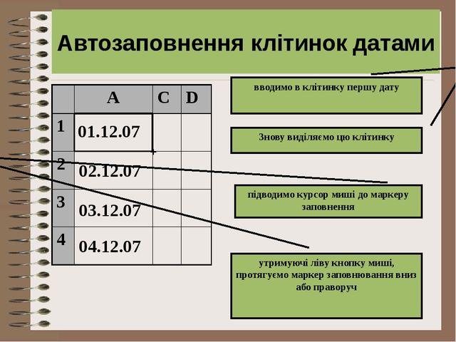 01.12.07 02.12.07 + Автозаповнення клітинок датами вводимо в клітинку першу д...