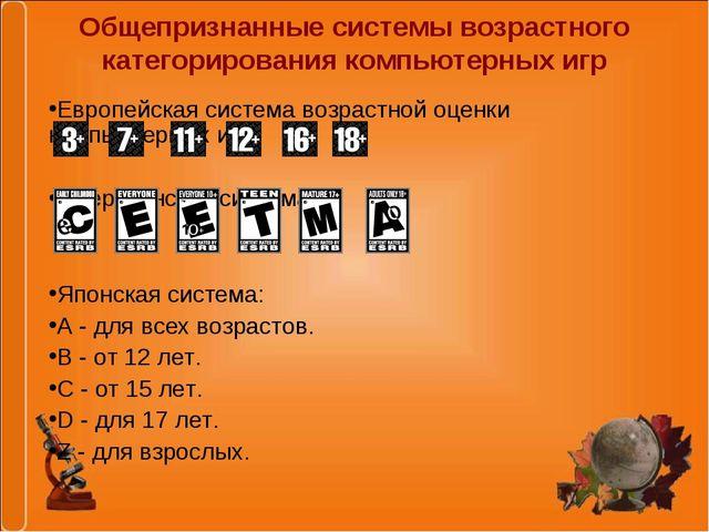 Общепризнанные системы возрастного категорирования компьютерных игр Европейск...