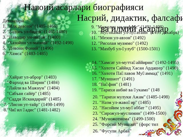 """Навоий асарлари биографияси Девонлари 1. """"Илк девони"""" (1485-1466) 2. """"Бадоеь..."""