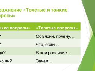 Упражнение «Толстые и тонкие вопросы» «Тонкие вопросы» «Толстые вопросы» Кто?