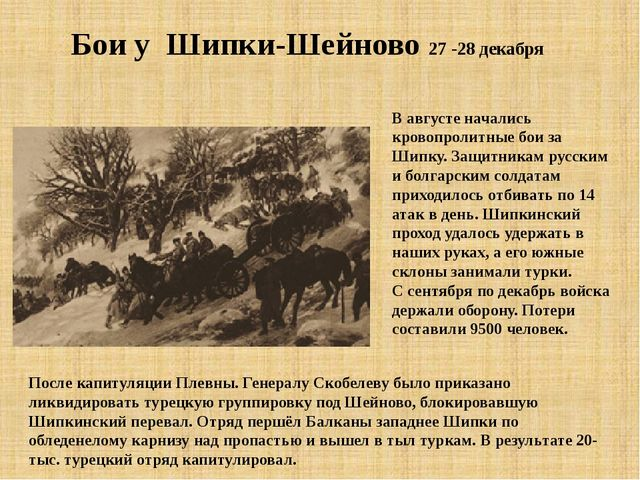 Бои у Шипки-Шейново 27 -28 декабря В августе начались кровопролитные бои за Ш...