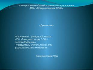 Муниципальное общеобразовательное учреждение МОУ «Владимировская СОШ» «Древес
