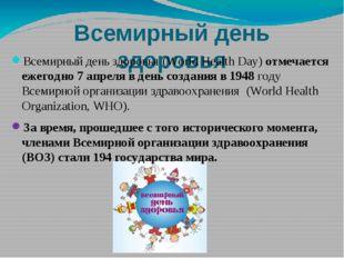 Всемирный день здоровья Всемирный день здоровья (World Health Day) отмечается
