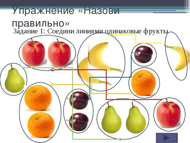 Упражнение «Назови правильно» Задание 1: Соедини линиями одинаковые фрукты